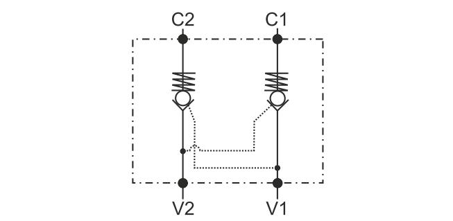 POC-2-DIN2353 Двусторонний гидрозамок с накидными муфтами