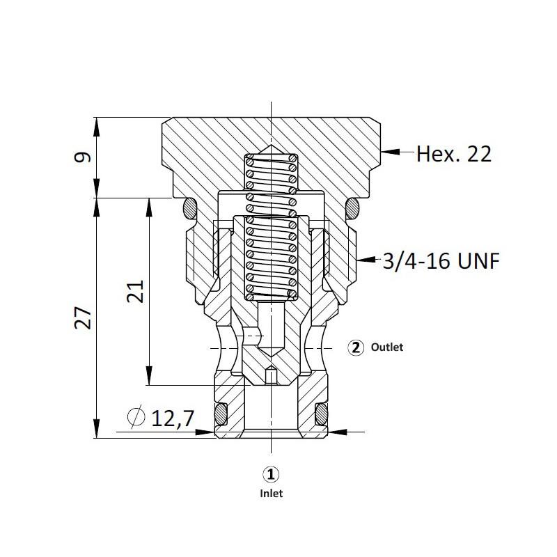 Обратный клапан CVC5.S08, Картриджный тип