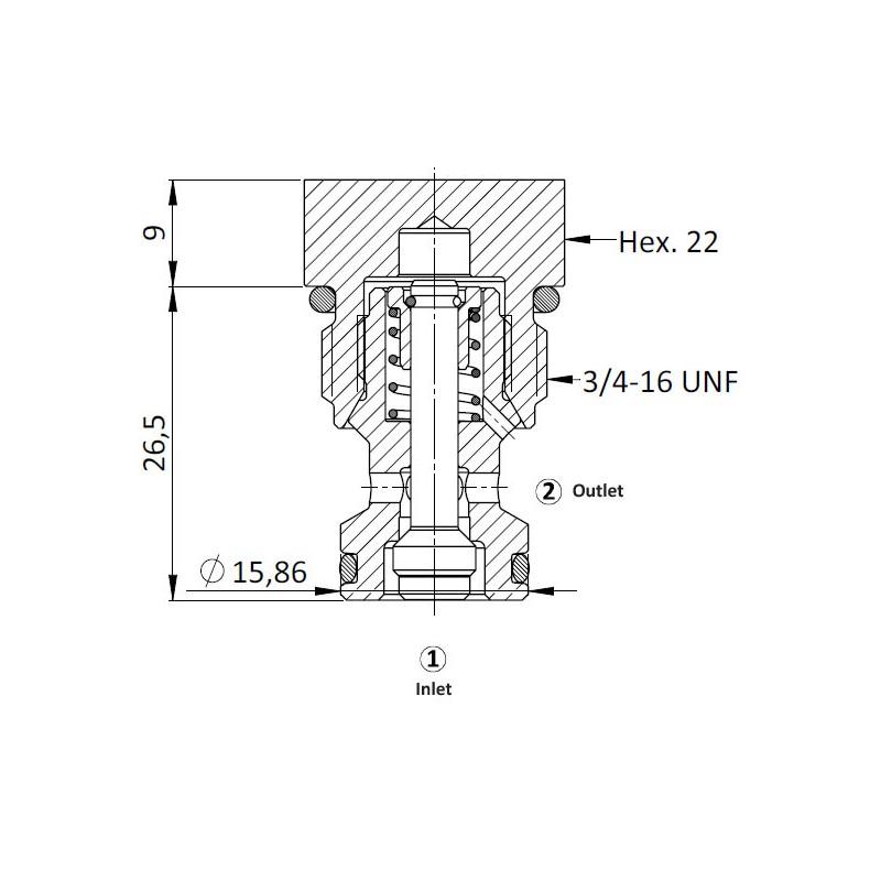 Обратный клапан CVZ0.S09, картриджный тип