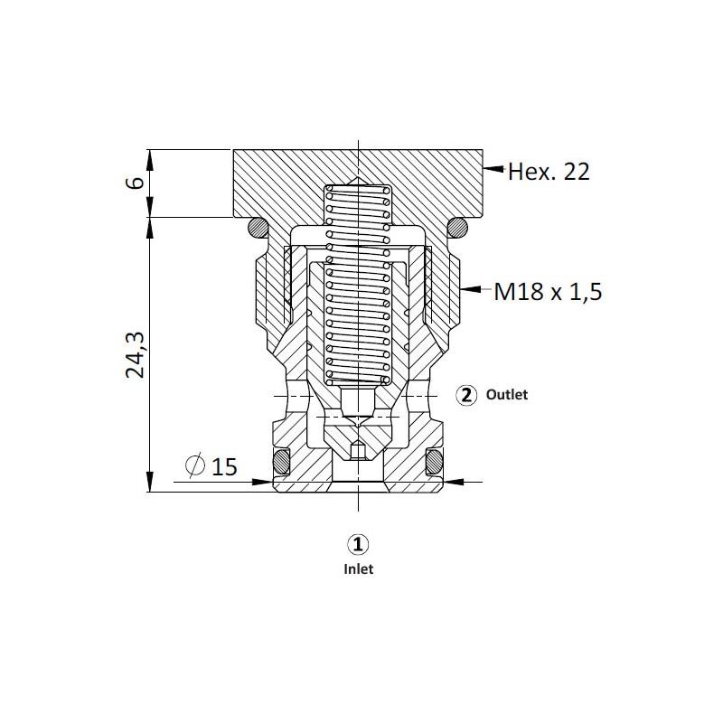 Обратный клапан CVC0.M18, Картриджный тип
