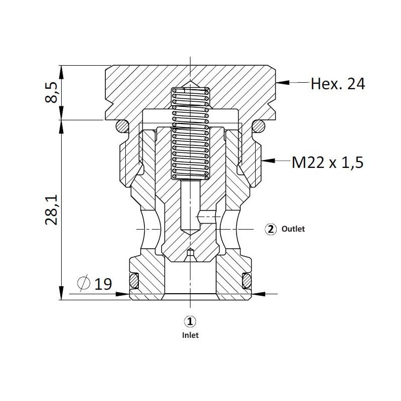 Обратный клапан CVC0.M22, Картриджный тип