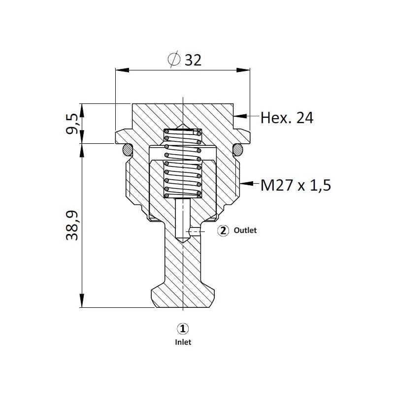 Обратный клапан ICV0.M27, Гибридный тип